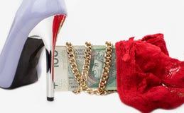 Высокие пятки и сексуальное нижнее белье, деньги стоковые изображения