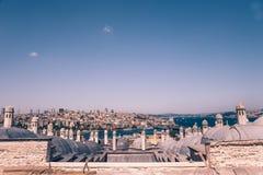 Высокий взгляд bosphorous моря и города Стамбула Стоковые Фото