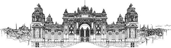 Высокий дворец dolmabahce чертежа руки разрешения иллюстрация вектора