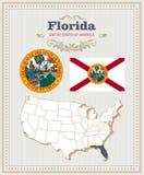 Высокий детальный комплект вектора с флагом, гербом, картой Флориды Американский плакат карточка 2007 приветствуя счастливое Новы Стоковая Фотография RF
