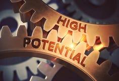 Высокий потенциал на золотых шестернях Cog иллюстрация 3d иллюстрация штока
