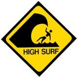 Высокий предупредительный знак прибоя Стоковое Изображение RF