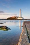 высокий прилив st mary s маяка Стоковое фото RF