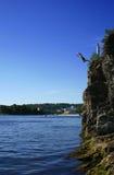 высокий прыжок к воде Стоковая Фотография