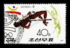 Высокий прыжок, 1992 Олимпиады лета, serie Барселоны i, около 1991 стоковая фотография rf