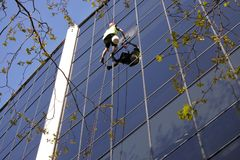 Высокий работник чистки окна подъема очищает офисное здание Стоковое Изображение RF