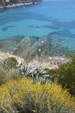 высокий среднеземноморской взгляд бирюзы моря moraira Стоковые Фото