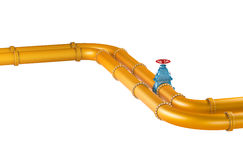 Высокий трубопровод разрешения 3D желтый промышленный с голубыми клапанами на белой предпосылке Стоковое Фото
