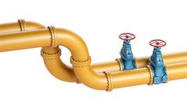 Высокий трубопровод разрешения 3D промышленный желтый с голубыми клапанами на белой предпосылке Стоковое фото RF