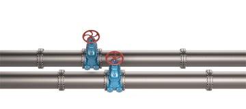 Высокий трубопровод разрешения 3D промышленный с голубыми клапанами на белой предпосылке Стоковые Фотографии RF