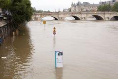 Высокий уровень воды в Сене Стоковые Фотографии RF