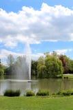 Высокий фонтан в пруде в парке на солнечный день Стоковые Фотографии RF