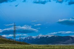 Высоковольтные башни передачи Стоковое Изображение