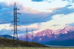 Высоковольтные башни передачи Стоковое Фото