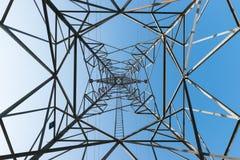 Высоковольтные столб или башня высокого напряжения Стоковые Фотографии RF