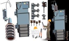 Высоковольтные части оборудования установили 2 в тележке вектора информации 2 графической стоковое фото