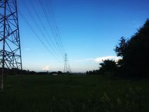 Высоковольтный поляк электричества через поле риса стоковая фотография rf