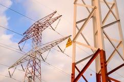 Высоковольтная башня передачи электроэнергии Стоковые Изображения