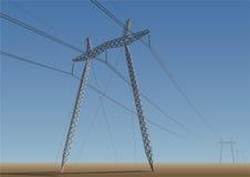 Высоковольтная линия электропередач иллюстрация вектора