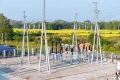 Высоковольтная подстанция трансформатора Стоковые Фотографии RF
