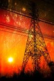 Высоковольтная середина опоры линии электропередач нивы Стоковые Изображения