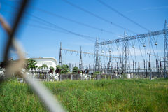 Высоковольтная станция электростанции и преобразования Стоковая Фотография RF