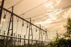 Высоковольтная станция электростанции и преобразования Стоковая Фотография
