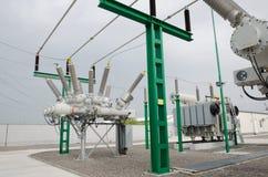 Высоковольтная электрическая подстанция Стоковое Фото