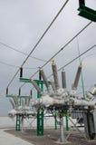 Высоковольтная электрическая подстанция Стоковые Фотографии RF