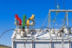 Высоковольтное оборудование подстанции Стоковое Изображение