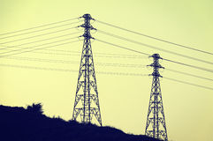 Высоковольтные башни передачи Стоковые Изображения RF