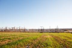 Высоковольтные линии электропередач Стоковые Изображения RF