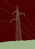 Высоковольтные линии электропередач Стоковые Фотографии RF