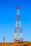Высоковольтные стальная структура или башня высокого напряжения Стоковое фото RF