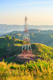 Высоковольтные стальная структура или башня высокого напряжения Стоковое Фото