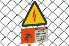 Высоковольтный знак на сетке предохранителя металлической бесплатная иллюстрация