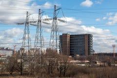 3 высоковольтных башни передачи Стоковая Фотография