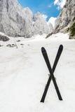 Высокогорная долина с парой пересеченных лыж Стоковые Фото