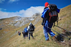 высокогорная экспедиция стоковое изображение
