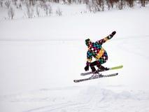 высокогорное катание на лыжах Стоковая Фотография RF