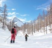 высокогорное катание на лыжах Стоковое фото RF