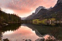 Высокогорное озеро Hintersee, Германия Стоковое Изображение
