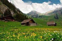 высокогорные хаты Швейцария Стоковая Фотография