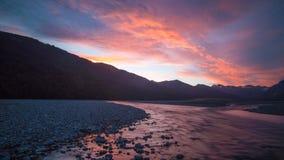Высокогорный заход солнца в Новой Зеландии Стоковые Изображения