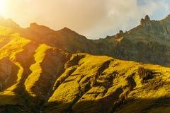 Высокогорный заход солнца горы Стоковые Фото