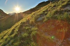 высокогорный заход солнца Стоковое Изображение RF