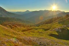 Высокогорный заход солнца Falre Стоковое Фото