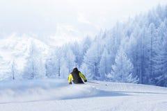 Высокогорный лыжник на беге piste покатом стоковые фото