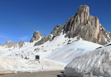 Высокогорный пейзаж на Passo Giau доломитов, Италии Стоковая Фотография