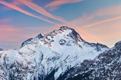 высокогорный пиковый заход солнца Стоковая Фотография